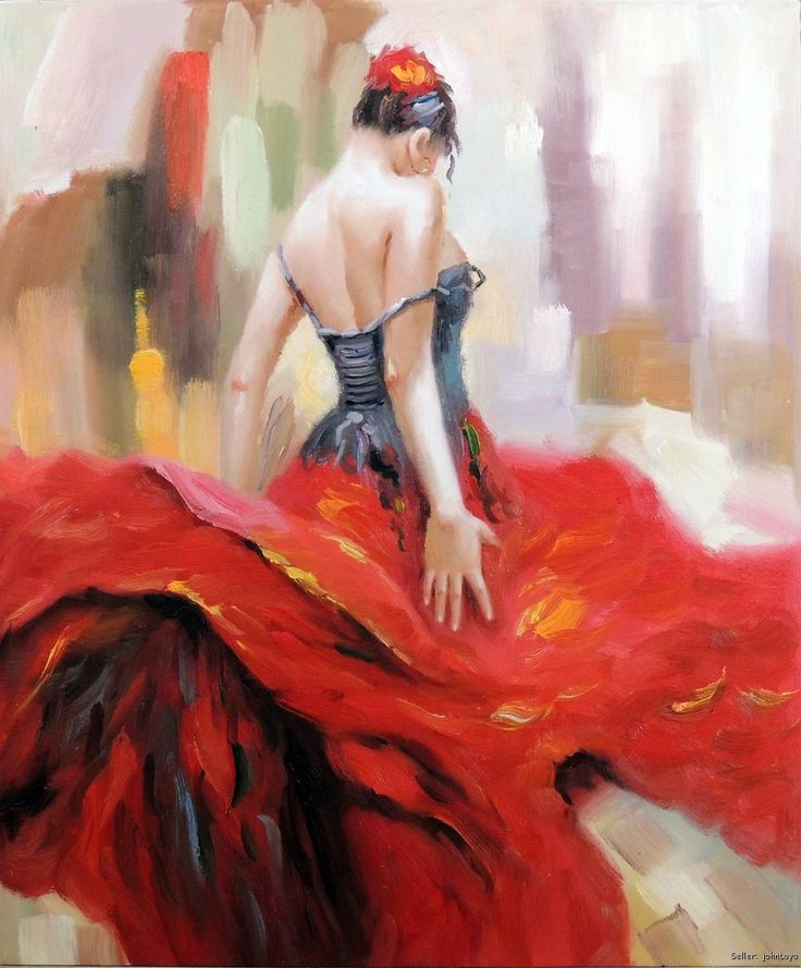 spanish gypsy paintings | ... Spanish Gypsy Bright Red Dress Brunette Flower Hair Oil Painting