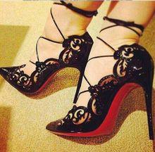 Impera Rihanna Pigalle dedo apontado de fundo vermelho Sexy sapatos de bombas tira no tornozelo sapatos das senhoras vestido de festa(China (Mainland))
