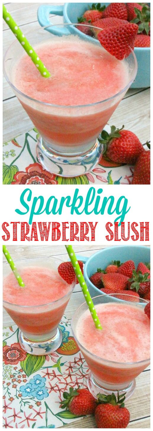 This frozen sparkling strawberry slush makes the perfect summer drink! Easy to make up in large batches for summer parties and BBQs!