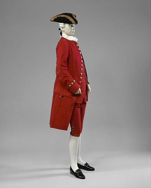 Suit Date: 1750–75 Culture: British Medium: wool, silk, gold Dimensions: Length (a): 41 in. (104.1 cm) Length (b): 27 in. (68.6 cm) Length (c): 23 1/2 in. (59.7 cm) Length (d): 30 in. (76.2 cm) Credit Line: Isabel Shults Fund, 1986