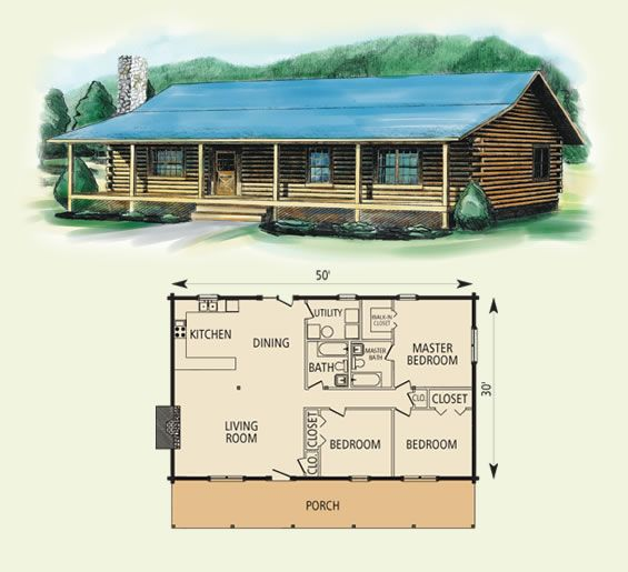 Log cabin floor plans springfield log home and log cabin for One bedroom log cabin plans
