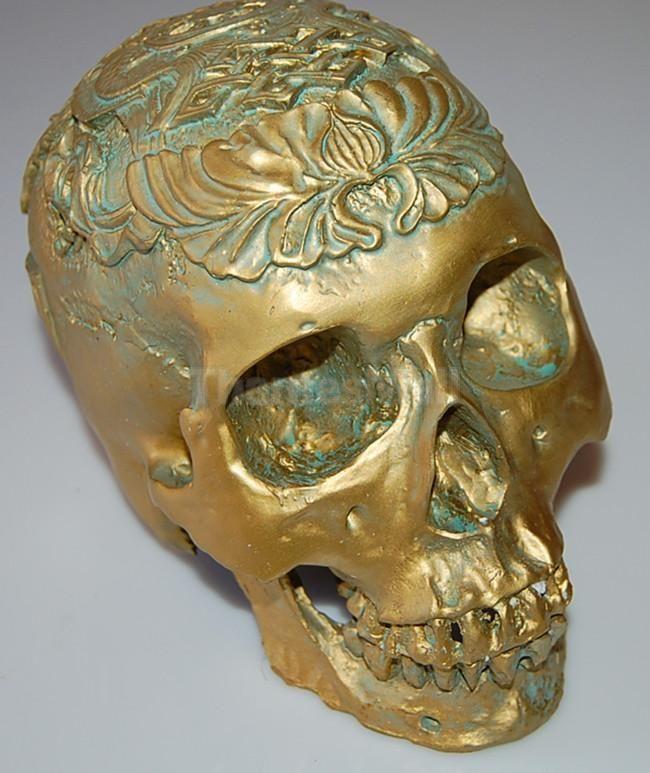 Antique Bronze 1:1 Scale Skull Model Anatomical Skeleton Halloween Carving