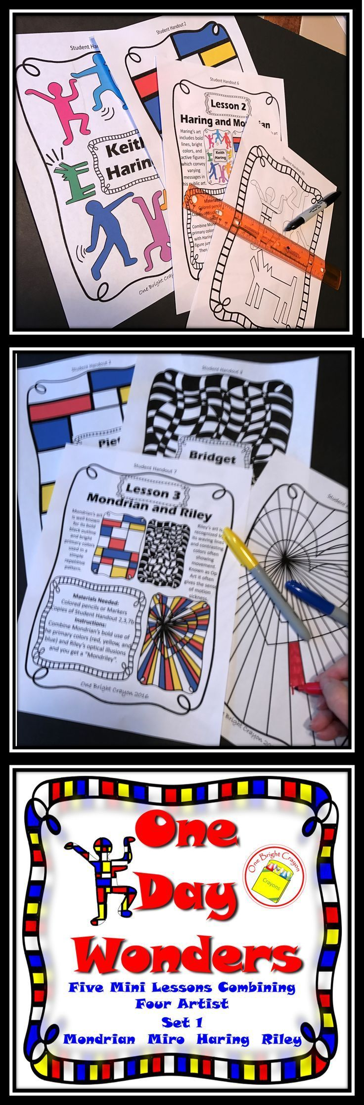 Art lesson handouts about artists and styles of art that is great for substitute lessons. Five one day lessons combining 4 different artists which gives each student a unique understanding of artists' styles. Great for sub work with no need for prep! Copy
