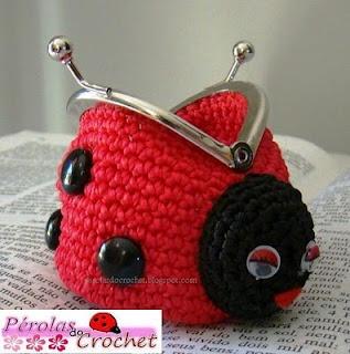 * Pérolas do Crochet: Porta-moedas de croche - Joaninha de croche - Fechos da vovó