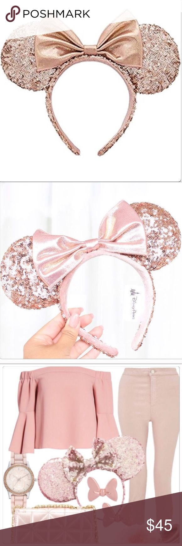 NWT Authentic Disney rose gold ears headband LAST CHANCE Sequined Minnie Ears headband is the hottest accessory with rose gold bow Magic. Created especially for Walt Disney World Resort and Disneyland Resort.  These are authentic Disney ears.  Sequined, padded ears & headband Contrast glittery fabric bow Velour no-slip interior band The bare necessities All man-made materials 8 1/2'' H x 10'' W x 1'' D (ears 4'' Diameter). Disney Accessories Hair Accessories