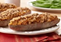 Batatas Horneadas Dos Veces - Cuando piensas en batatas, piensas en el día acción de gracias - pero esta receta, dulce y sabrosa de batata horneada dos veces, es tan buena que definitivamente querrás hacerla para comerla todo el año. #AzucarImperial