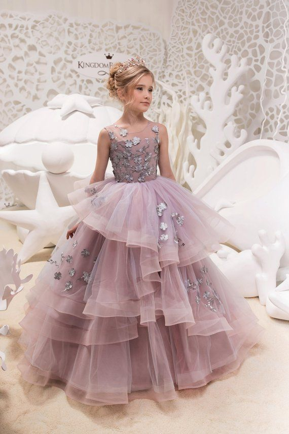 Gray and Pink Flower Girl Dress - Birthday Wedding Party Holiday Bridesmaid Flower  Girl Gray and Pin f238a27fb263