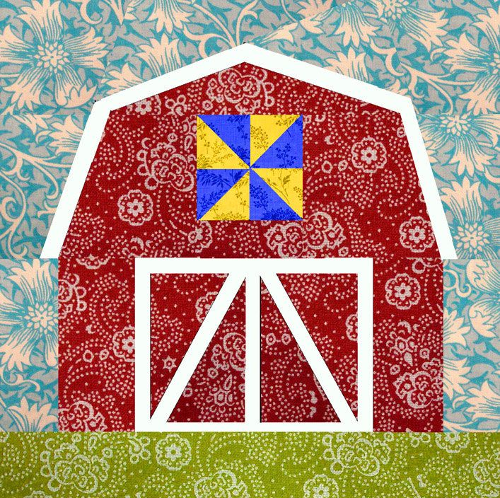 Barn [Free 10 Quilt Block Patterns | Barn paper pieced quilt block pattern PDF by BubbleStitch on Etsy]
