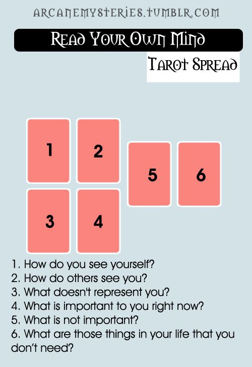 Read Your Own Mind Tarot Spread. Try this one its interesting :) x