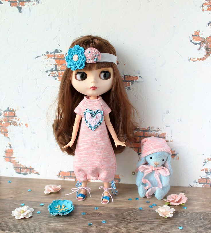 Pink and blue dress for Blythe with heart/ doll dress / dollclothes blytheclothes by ValentinaFreedom on Etsy