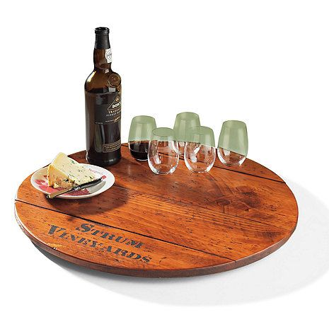Personalized Wine Barrel Lazy Susan Boss Barrel Wine Barrel