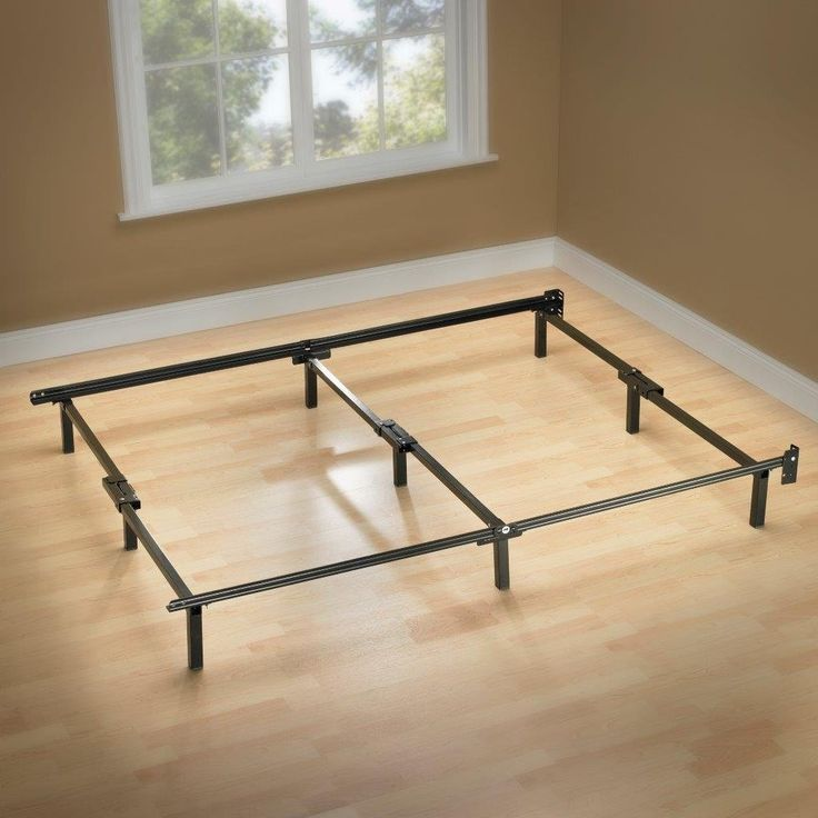 twin metal bed frame with 6 support legs and headboard brackets - Basic Metal Bed Frame