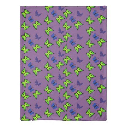 green and blue butterflies in purple duvet cover - blue gifts style giftidea diy cyo