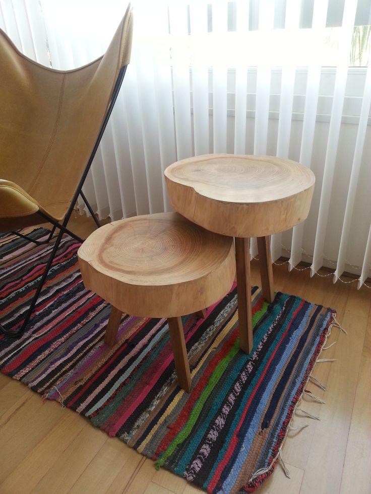 Mesas de apoyo con seccion de un tronco_ wayraymar