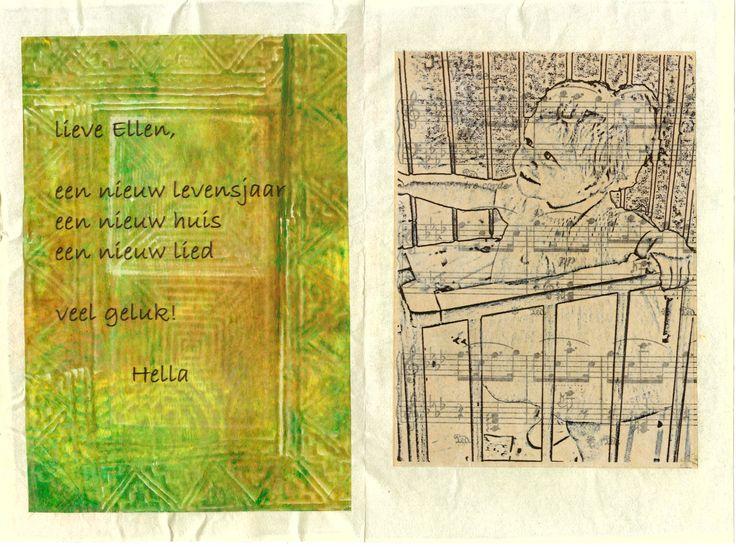 mixed media 101 verjaarskaart bewerkte foto op deli paper, muziekpapier, gelli plate en stempels op deli paper, tekst geprint