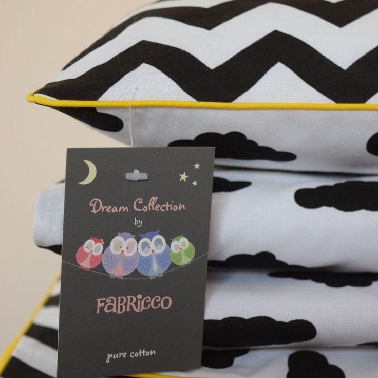 COTTON Single Cot Bed Duvet Cover Set reversible black white clouds chevron