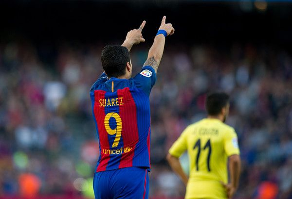 Luis Suarez of FC Barcelona celebrates after scoring his team's 3rd goal during the La Liga match between FC Barcelona and Villarreal CF at Camp Nou stadium on May 6, 2017 in Barcelona, Catalonia.