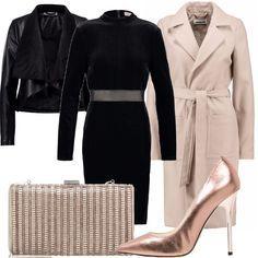Vestito nero giacca beige background