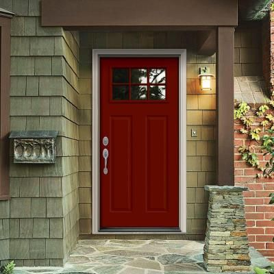 Outstanding Jeld Wen 33 438 In X 81 75 In 6 Lite Craftsman Mesa Red Door Handles Collection Dhjemzonderlifede