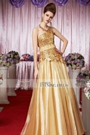 2015 New Gold Shinning One Shoulder Prom Dress 30318