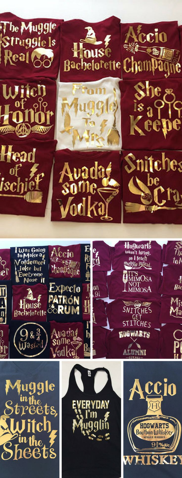 Over 30 choices of Funny Harry Potter themed t-shirts and tank tops. Love ALL of them! Perfect for gifts for for friends and family or even bachelor and bachelorette parties. #HarryPotter #Bachelorette #GiftsForHer #GiftsForHim #affiliate #Christmasgifts
