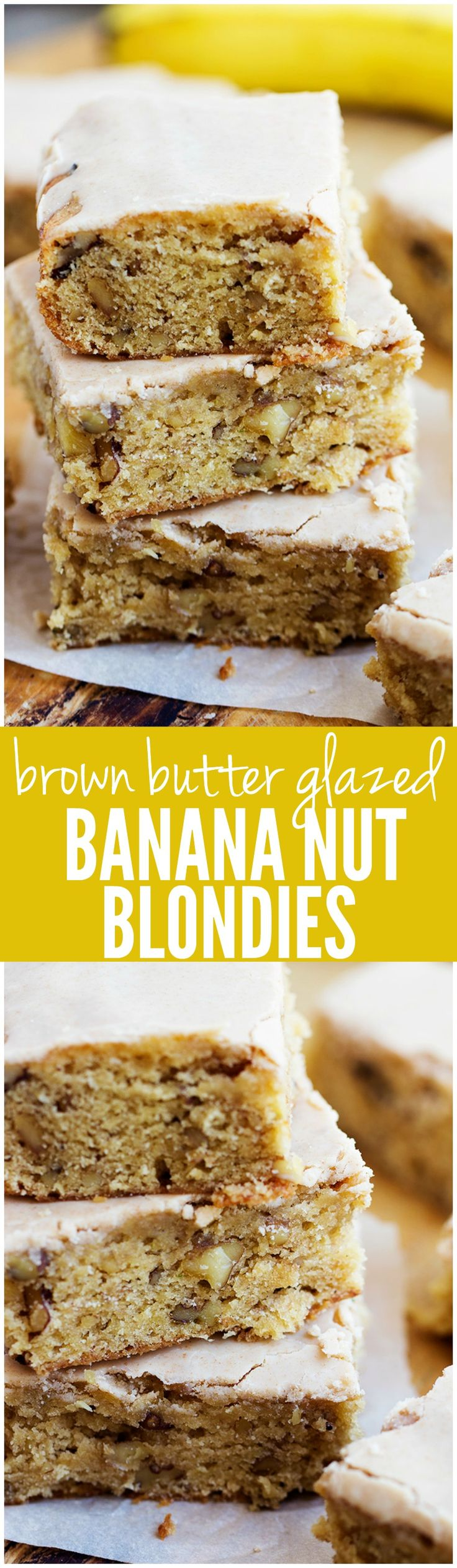Brown Butter Glazed Banana Nut Blondies - These will be the BEST thing that you ever make with over-ripe bananas! Soft and chewy banana nut blondies with an amazing brown butter glaze!