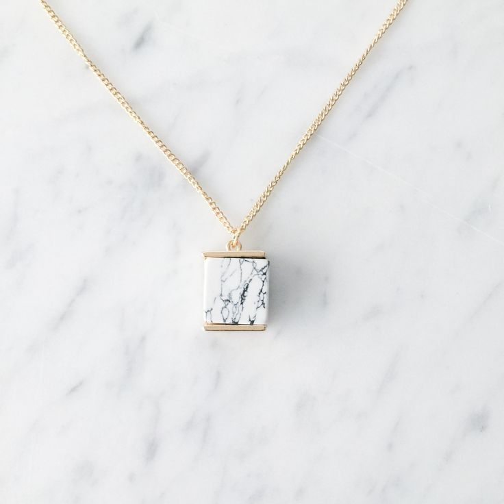 Delicate Marble Necklace with Gold Accents. Complete the set with Chas Stud Earrings.