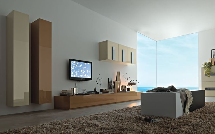 Modern Living Wall Unit Interior Design Ipc335 - Lcd Tv Cabinet Designs - Al Habib Panel Doors