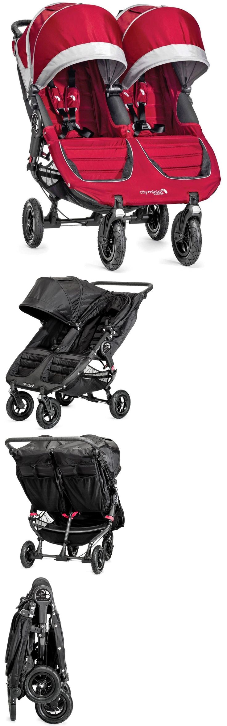 Other Baby Gear 100224: Baby Jogger City Mini Gt Double Twin All Terrain Stroller Crimson Gray New -> BUY IT NOW ONLY: $492.99 on eBay!