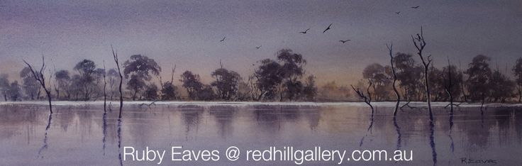 "Ruby Eaves Watercolour Painting ""Twilight Serenity"" 61x20cms.Red Hill Gallery, Brisbane redhillgallery.com.au"