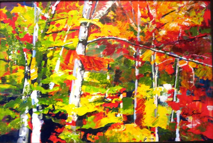 """A plein air painting in Acrylic on Canvas rich with paint done with a palette knife. 32"""" x 44"""" Framed"""