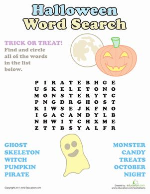 Halloween First Grade Sight Words Puzzles & Sudoku Worksheets: Halloween Word Search