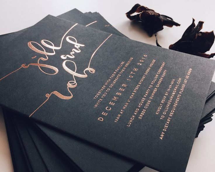 gold-foiled letterpress wedding stationery by Paige Tuzee
