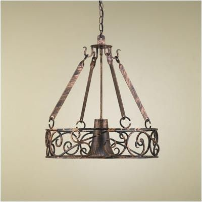 Hi-Lite Authentic Iron Circular Hanging Pot Rack with Light Base Finish: Tuscany, Accent Finish: Brushed Copper Topcoat, Copper Insert: No, Shade: ...