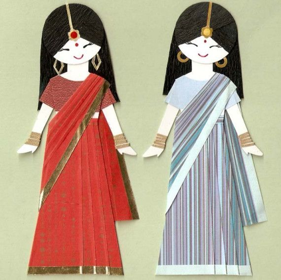 INDIAN GIRL IN SARI PAPER DOLL CARD TOPPER (SET OF 2)