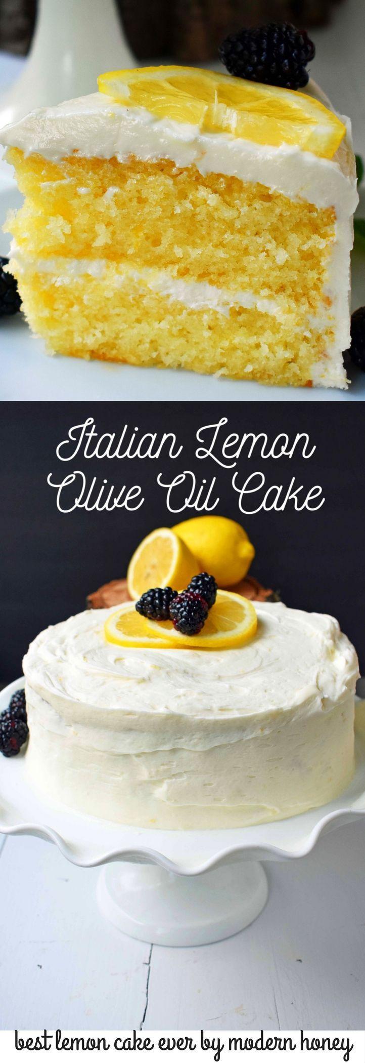 Italian Lemon Olive Oil Cake with Lemon Vanilla Cream Cheese Frosting is the best lemon cake recipe. Moist and tender lemon cake every single time.