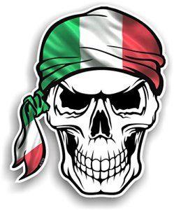 Crâne avec bandana Tête Design avec Italie Italien Drapeau tricolore Il Country fantaisie en vinyle Sticker voiture 100x 120mm: Superbe…