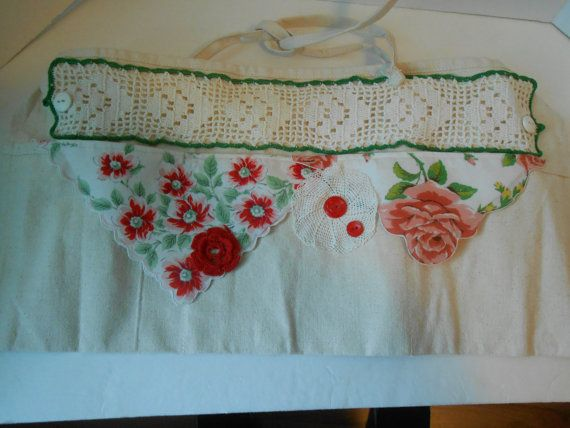 I have used many vintage trims to embellish this mid weigt canvas apron. It has large pockets for your crafting items or for vendors to hold your cash, phone, keys, etc. 11 inches in length Long ties fit xs-xxl- smaller sizes can wrap the ties to the front- larger tie at back all