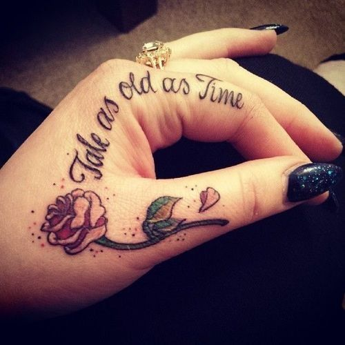 Tale As Old As Time tattoo, Beauty and the Beast tattoo, Disney tattoo, finger tattoo, hand tattoo