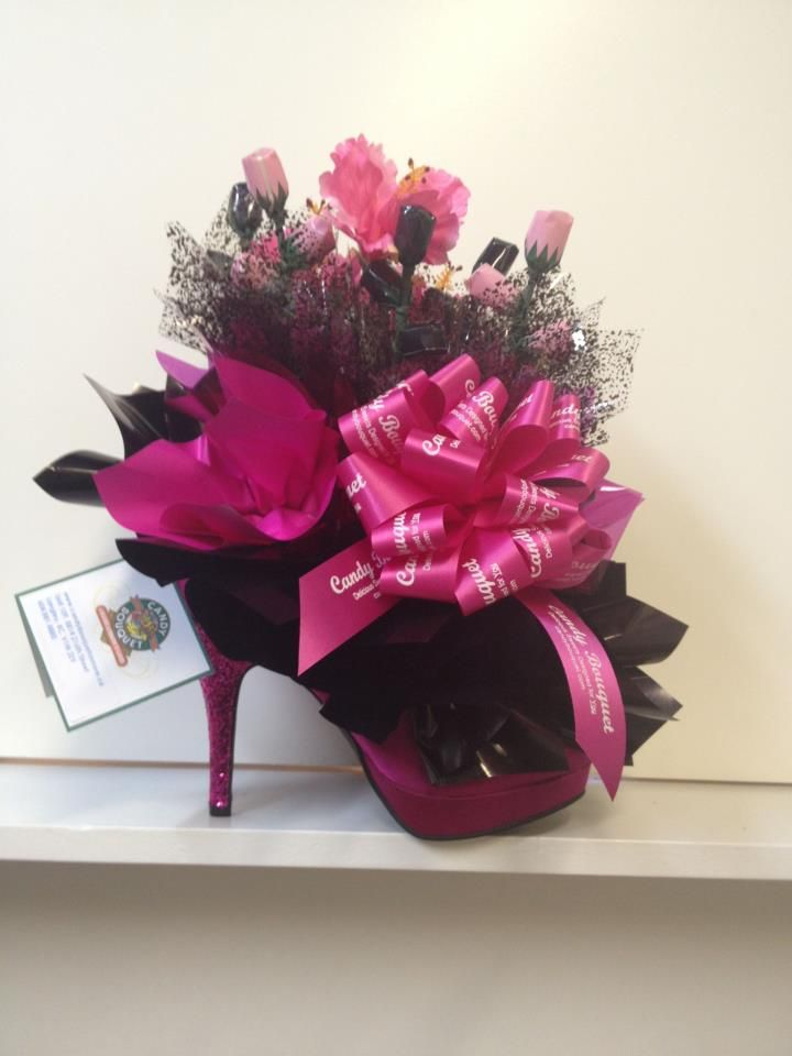 Candy Bouquet in a stiletto! I need to do one like this. Who wants to order one!!
