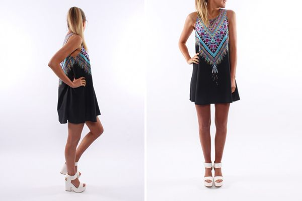 Oversize kjole med mønster