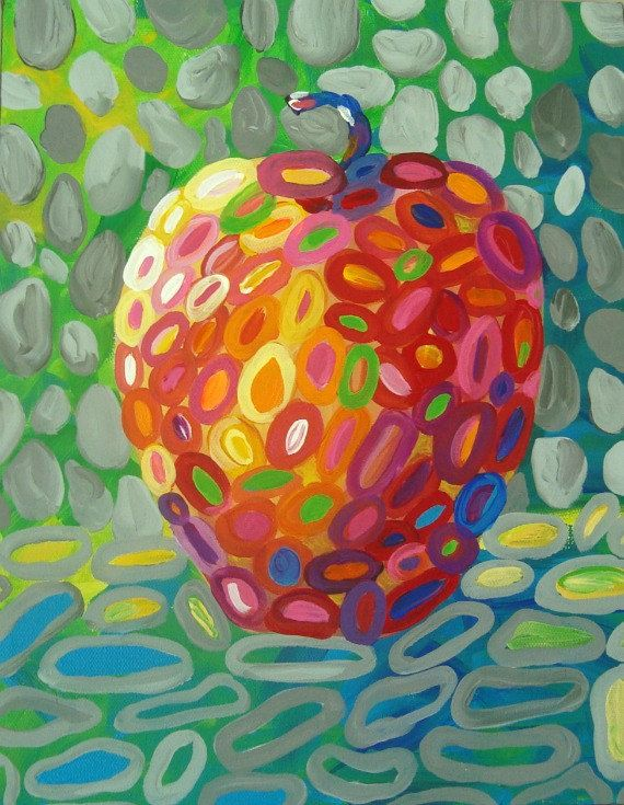 "Colorful Apple Art PRINT from original painting ""Apple Whimsy"" by Tracy Hall on Etsy, $18.00"