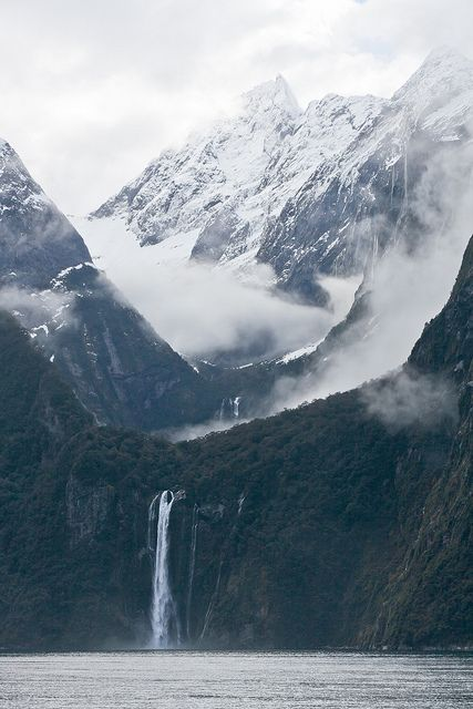 Stirling Falls in Milford Sound, South Island, New Zealand