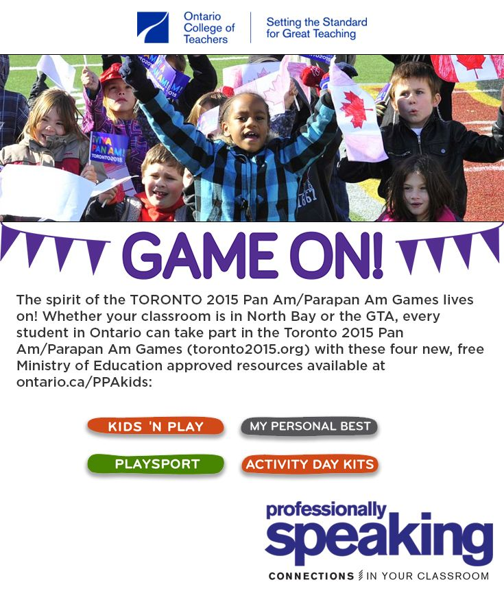 The spirit of the #Toronto 2015 Pan Am/Parapan Am Games lives on! Whether your classroom is in #NorthBay or the #GTA, every student in #Ontario can take part in the Toronto 2015 Pan Am/Parapan Am Games (toronto2015.org) with these four new, free Ministry of #Education approved resources available at ontario.ca/PPAkids. #Canadian #TO2015 #panam #sports #teacherresources #teachingtools #parapanam #athletics
