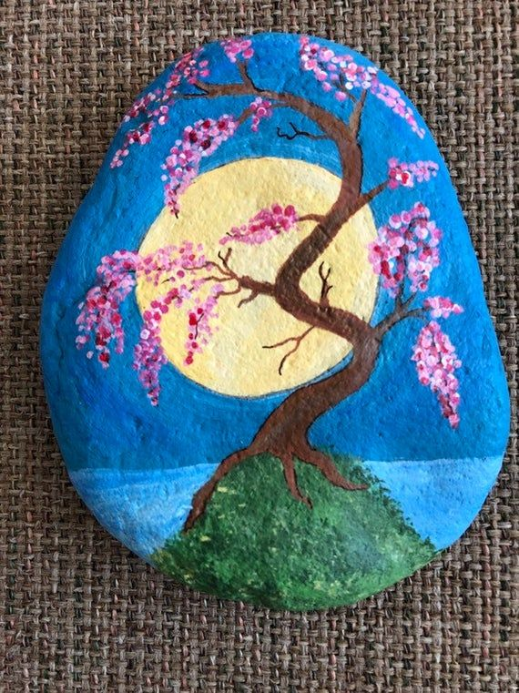 Reserved For Patti Japanese Cherry Blossom Tree Painted Rock Rock Painting Art Rock Painting Designs Rock Painting Flowers
