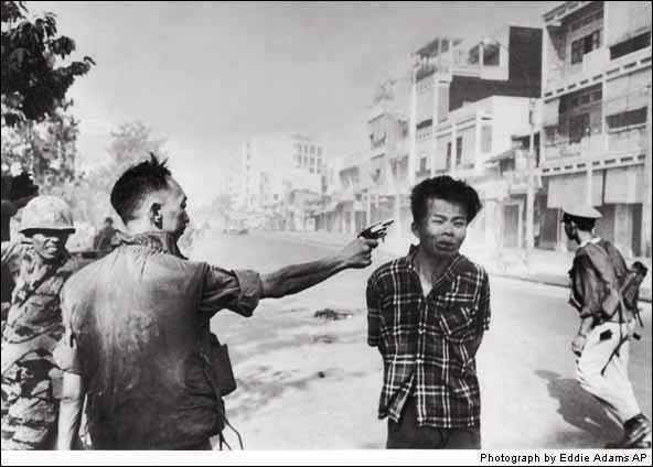 Execution of a Viet Cong Guerrilla 1968    With North Vietnam's Tet Offensive beginning, Nguyen Ngoc Loan, South Vietnam's national police chief, was doing all he could to keep Viet Cong guerrillas from Saigon. As Loan executed a prisoner who was said to be a Viet Cong captain, AP photographer Eddie Adams opened the shutter. Adams won a Pulitzer Prize for a picture that, as much as any, turned public opinion against the war. Adams felt that many misinterpreted the scene, and when told in…