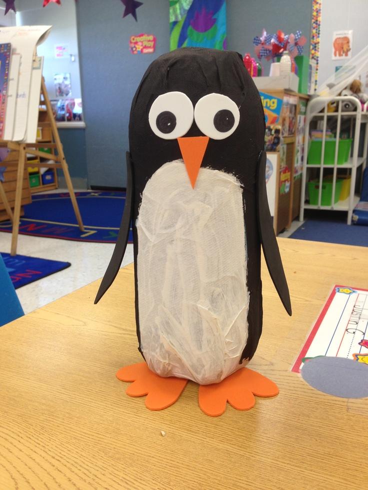 Soda bottle penguin Had the kids paper mâché first, so ...