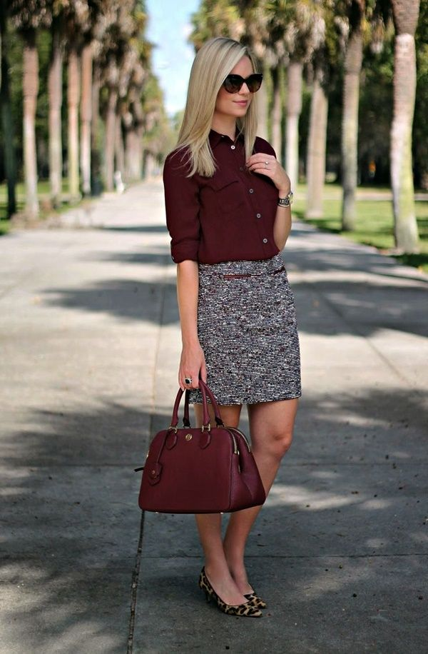 Really like the colors and patterns here between the blouse and skirt