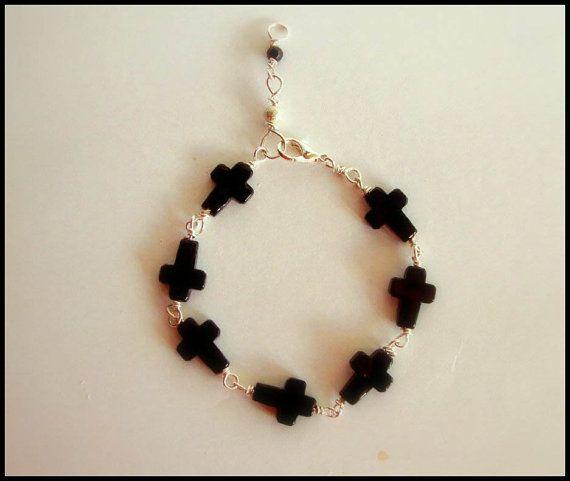 Black Onyx Cross Bracelet on Etsy, €18.00