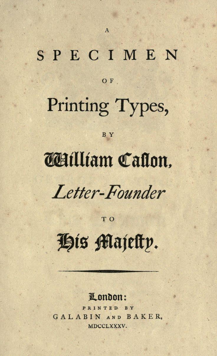 William Caslon, a specimen of printing types